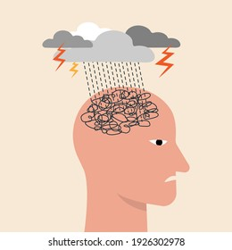 Depressed or mental illness. Head profile with storm cloud. Mindfulness and stress management in psychology. Anger, stressed and anxiety emotion concept. Vector illustration.