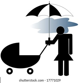 depressed mother pushing stroller - post partum depression