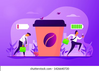 Depressed office worker, stress and emotional burnout. Caffeine stimulating effect. Coffee break, low energy, tiredness and energizing concept. Vector isolated concept creative illustration