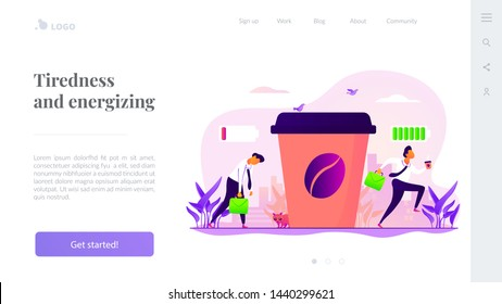 Depressed office worker, stress and emotional burnout. Caffeine stimulating effect. Coffee break, low energy, tiredness and energizing concept. Website homepage header landing web page template.
