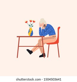 Depressed old woman sitting at the table in miserable pose. There are flowers in vase on the table. Flat vector illustration