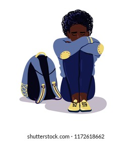 Depressed sad afro american boy sitting on the floor. Depressed teenager with backpack. Unhappy sad man and stressed student. Creative vector illustration.