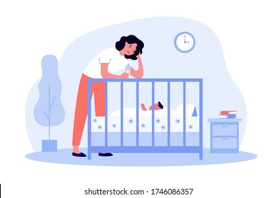 Depressed tired mom giving bottle to baby. Sad sleepy new mother leaning on crib to feed newborn child. Flat vector illustration for postnatal anxiety, postpartum depression, maternity blues concept