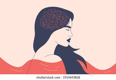 Depressed woman with flying hair stand in the choppy water. Lost girl feels frustrated and confused thinking. Concept of psychological problem, mental disease and brain illness. Vector illustration.