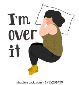 Depressed woman. Women depression vector illustration concept, unhappy adult girl in sorrow isolated on white background, depressive sad alone young female covers face with her hand