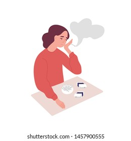 Depressed young woman smoking cigarettes. Concept of tobacco addiction, bad habit, negative behavior. Mental illness, behavioral problem, psychiatric condition. Flat cartoon vector illustration.