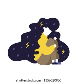 Depressed,sad,unhappy young girl sitting on the floor under rain. Vector modern flat style illustration icon design, Isolated on white background. Mental health, depression, frustration, sad concept