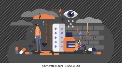 Depression concept flat vector illustration, mental health problems, medical antidepressants usage, human psychology issues, suicidal thoughts and low point of the life. Inner frustration and anxiety