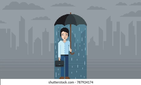Depression concept - pixel art video game style illustration