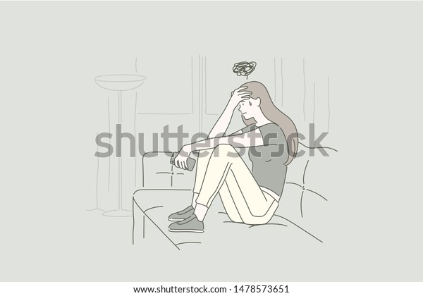 Depression concept of a young upset woman. Desperate girl frustrated by problem with work or relationships, feeling anxiety and disappointment, psychological trouble, having loneliness. Simple vector.