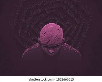 Depression and despair concept. A person is confused in life, lost in a labyrinth of thoughts. Problems and troubles. Vector illustration in flat style
