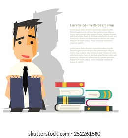 depression hates reading books - vector illustration