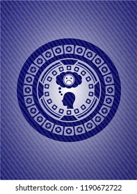 depression icon inside emblem with denim texture