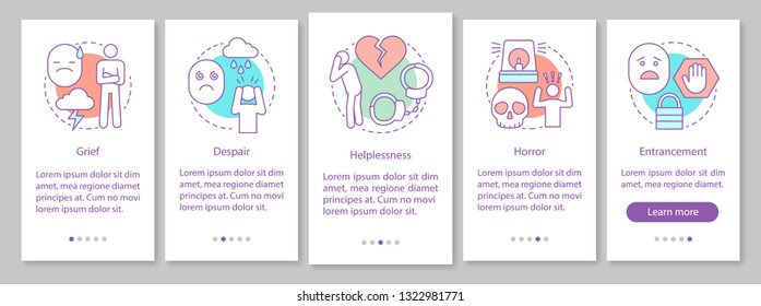 Depression onboarding mobile app page screen vector template. Sadness. Hopeless circumstances. Panic, bipolar disorder. Mental health. Walkthrough website steps. UX, UI, GUI smartphone interface