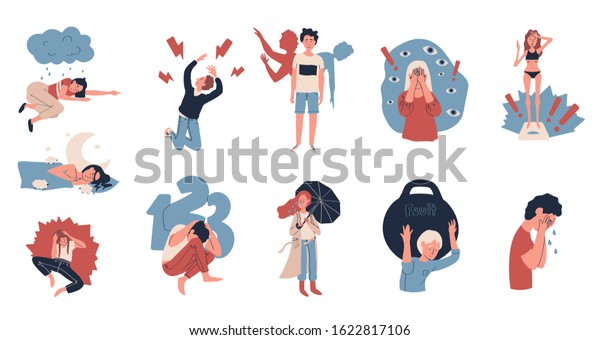 Depression People Suffering Stress Vector Illustration Stock Vector Royalty Free 1622817106