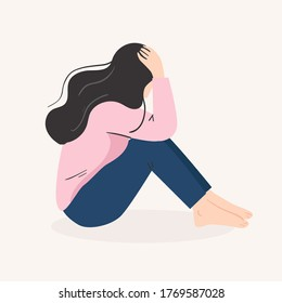depression, sad, feeling lonely concept. woman in bad mood