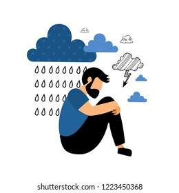 Depression. Sad unhappy young man sitting under rain cloud. Flat vector illustration.