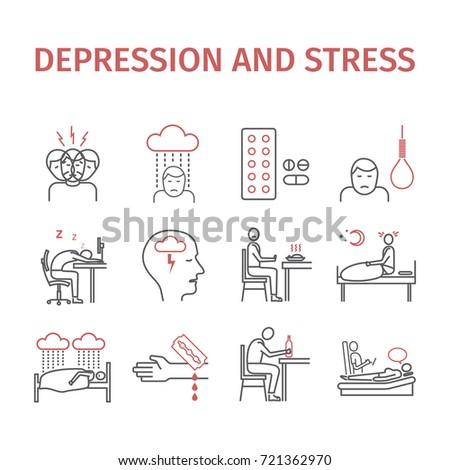 depression symptoms treatment line icons set stock vector royalty
