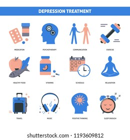 Depression treatment concept icons set in flat style