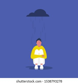 Depression: Young male character sitting in the rain
