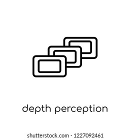 depth perception icon. Trendy modern flat linear vector depth perception icon on white background from thin line Artificial Intelligence, Future Technology collection, outline vector illustration