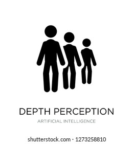 depth perception icon vector on white background, depth perception trendy filled icons from Artificial intelligence collection, depth perception simple element illustration