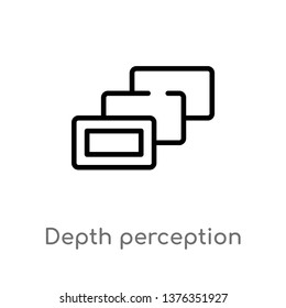 depth perception vector line icon. Simple element illustration. depth perception outline icon from augmented reality concept. Can be used for web and mobile