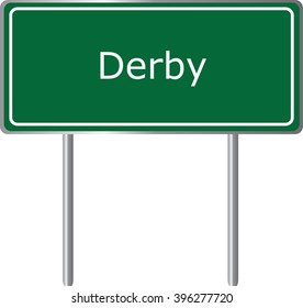 Derby , Connecticut ,  road sign green vector illustration, road table, USA city