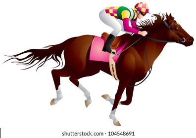 Derby, Equestrian sport horse and rider in vector variant 4, Thoroughbred horse, gambling, The Sport of Kings