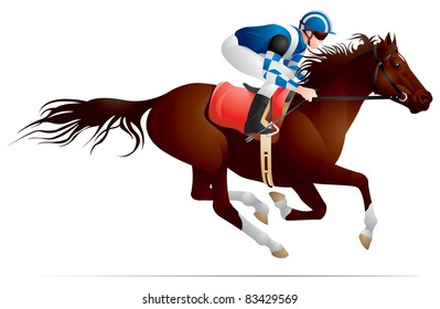 Derby, Equestrian sport horse and rider in vector variant 3, Thoroughbred horse, gambling, The Sport of Kings