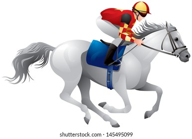 Derby white horse, Equestrian sport horse and rider in vector variant 5, Thoroughbred horse, gambling, The Sport of Kings