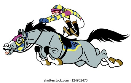 derby,equestrian sport,racing horse with jockey,cartoon picture isolated on white background,vector illustration