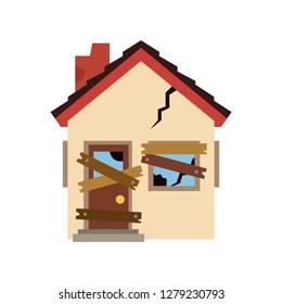 Derelict broken house emoji vector