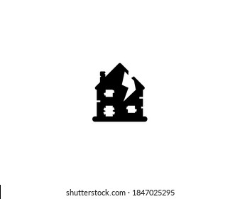 Derelict Housevector icon. Isolated Abandoned House illustration