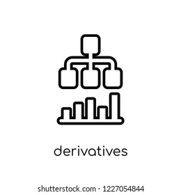 derivatives icon. Trendy modern flat linear vector derivatives icon on white background from thin line Derivatives collection, outline vector illustration