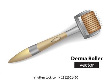 Derma roller or Meso-roller.  Roller for mesotherapy. Vector illustration