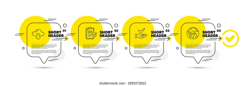 Dermatologically tested, Cloud download and Survey checklist line icons set. Timeline infograph speech bubble. Global business sign. Organic, File storage, Report. Outsourcing. Technology set. Vector