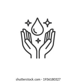 Dermatologically tested icon in line style vector label with water drop,  hand with water logo. Dermatology test and dermatologist clinic icon, business concept allergy free and healthy