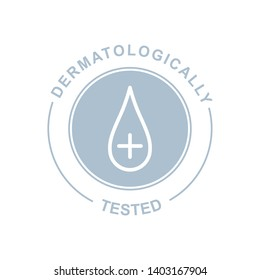 Dermatologically tested logo. Vector water drop icons of hypoallergenic package label or dermatology test tag for sensitive skin of kid cosmetic lotion or skincare and bodycare pure products