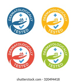 Dermatologically tested simple labels. Vector circle stickers for skin products.