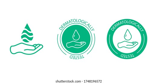 Dermatologically tested vector label with water drop, leaf and hand logo. Dermatology test and dermatologist clinically proven icon for allergy free and healthy safe product package tag EPS