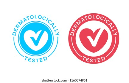 Dermatologically tested vector logo of heart and check mark icon for medical clinically proven stamp or hypoallergenic product package label