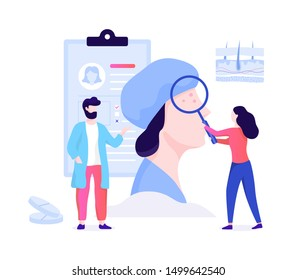 Dermatologist concept. Dermatology specialist, face skin treatment. Idea of beauty and health. Skin epidermis scheme. Vector illustration in cartoon style