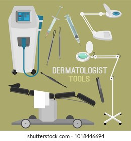 Dermatologist equipment set. Treatment chair, cosmetic magnifying lamp, lazer and other equipment. Dermatology and cosmetology concept. Vector illustration isolated on a light green background.