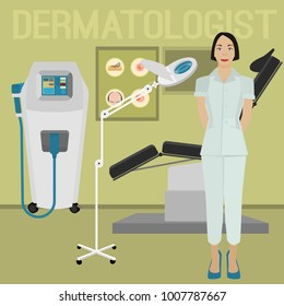 Dermatologist in the hospital. Treatment chair, cosmetic magnifying lamp, lazer and other equipment. Dermatology and cosmetology concept. Vector illustration isolated on a light green background.