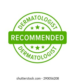 Dermatologist recommended label sign flat vector icon