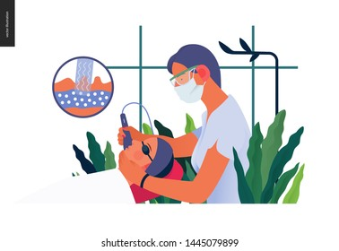 Dermatology, cosmetology -medical insurance illustration -modern flat vector concept digital illustration of a dermatologist carrying out the procedure of laser treatment, medical office or laboratory