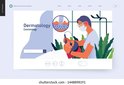 Dermatology, cosmetology -medical insurance template -modern flat vector concept digital illustration of a dermatologist carrying out the procedure of laser treatment, medical office or laboratory
