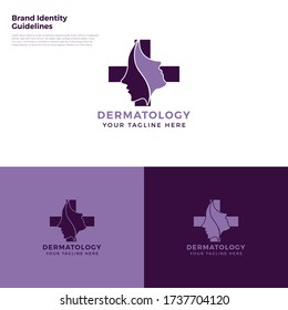 Dermatology - Dermatologically tested logo. Dermatology test tag for sensitive skin of kid cosmetic lotion or skincare and body care pure prod