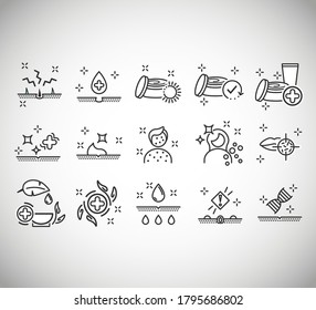 Dermatology icons. Paraben chemical formula icons. Health Conditions and Diseases - Black Series